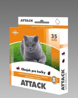 Obojek proti klíšťatům a proti blechám pro kočky ATTACK